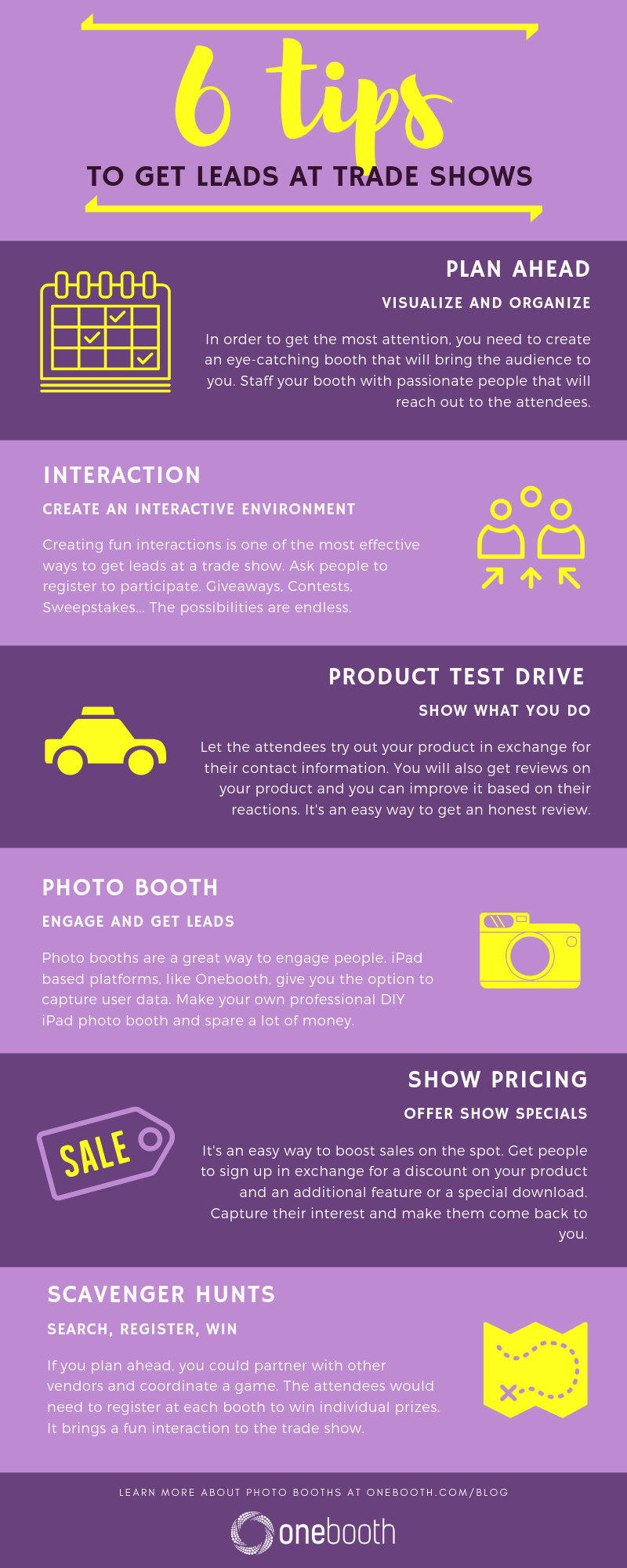 Infographic: 6 Tips to get leads at Trade Shows by Onebooth
