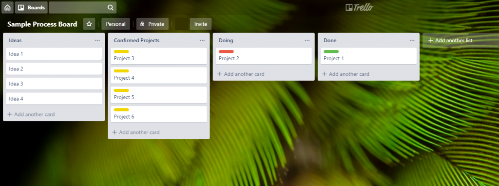 Screenshot of a Trello Board