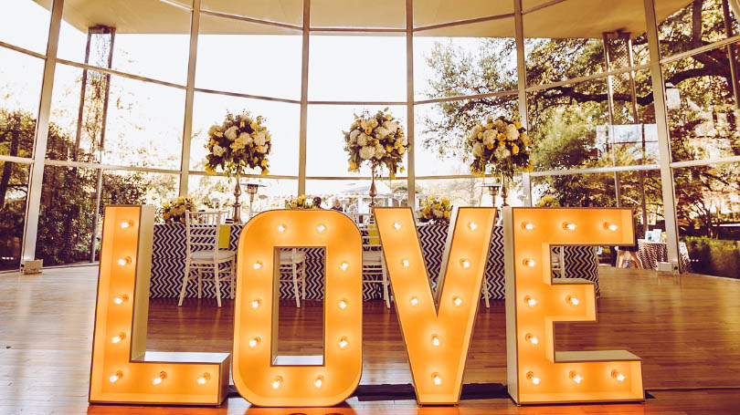 Picture of a Love sign at a wedding reception